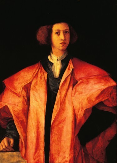 Portrait of a young man, perhaps Amerigo Antinori, ca 1530, by Jacopo Carucci, known as Pontormo (1494-1557), oil on panel. : Stock Photo