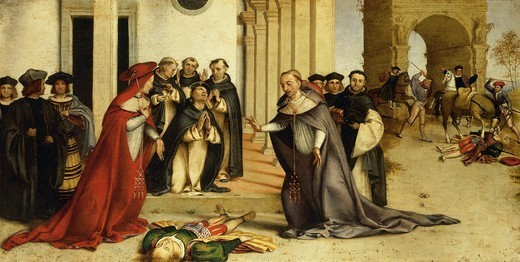 Stock Photo: 1788-45746 St Dominic resurrecting Napoleone Orsini, 1513-1516, by Lorenzo Lotto (1480 ca- 1556), oil on panel, 51.8x97.5 cm.