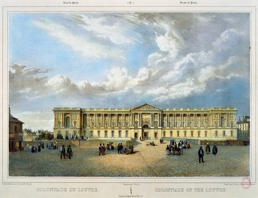 Stock Photo: 1788-45768 Colonnade du Louvre in Paris, France 19th Century. Engraving.