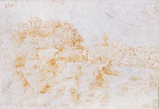 Stock Photo: 1788-45869 View of the Adda at the Three Horns , by Leonardo da Vinci (1452-1519), drawing. 12399