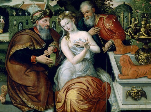 Susanna and the Elders, by a 16th century Flemish painter, oil on canvas, 74x106 cm. : Stock Photo