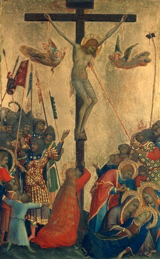 Stock Photo: 1788-45907 Crucifixion, panel from the Altarpiece of the Passion or Orsini polyptych, by Simone Martini (1284-1344), tempera and gold on wood panel, 29x21 cm.
