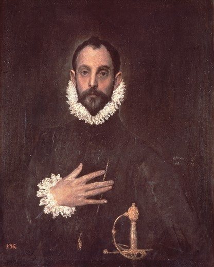 Portrait of nobleman with his hand to his chest, by El Greco (1541-1614). : Stock Photo