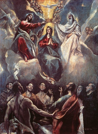 Stock Photo: 1788-45912 Coronation of the Virgin, 1591, by El Greco (1541-1614).