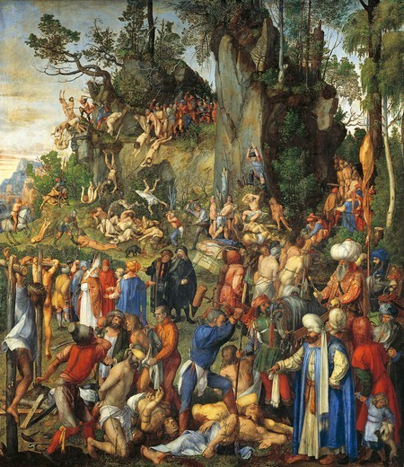 Stock Photo: 1788-45914 The martyrdom of the ten thousand, 1508, by Albrecht Durer (1471-1528), oil, 99x87 cm.