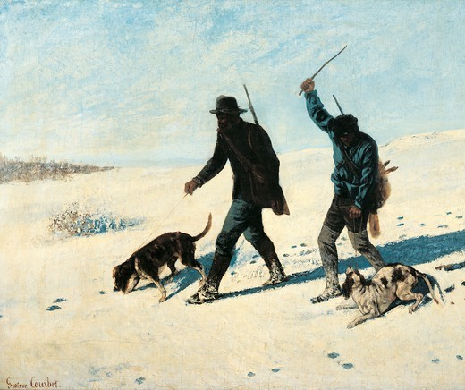 Poachers in the snow, 1867, by Gustave Courbet (1819-1877). : Stock Photo