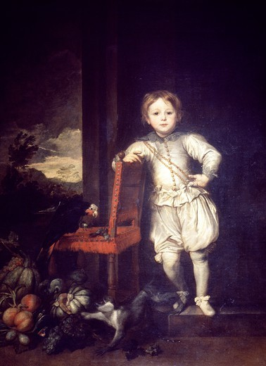 Child in a white dress, by Anthony van Dyck (1599-1641). : Stock Photo