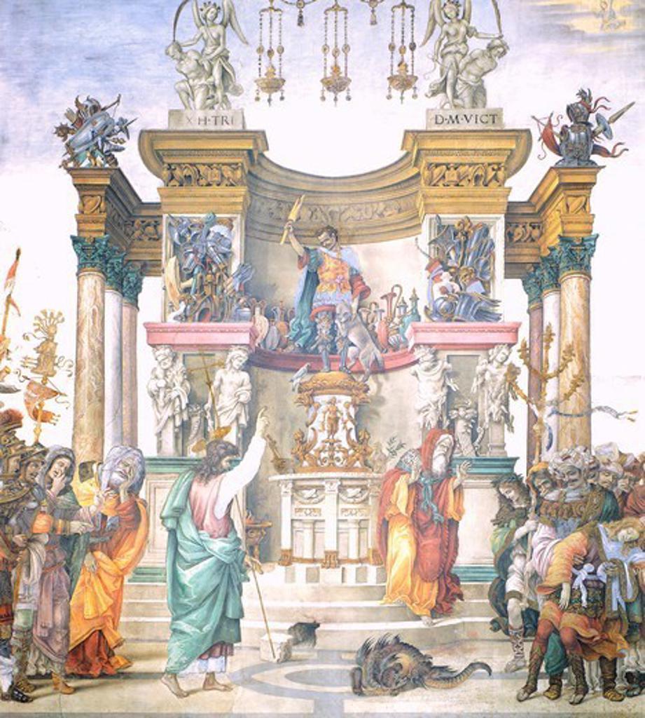 St Philip driving the dragon from the Temple of Hierapolis, 1487-1502, by Filippino Lippi (ca 1457-1504), fresco. Basilica of Santa Maria Novella, Strozzi Chapel, Florence. : Stock Photo