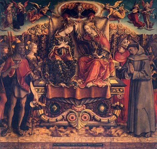 Stock Photo: 1788-45966 Coronation of the Virgin with the Holy Trinity and Saints Venancio, John the Baptist, Catherine, Bonaventure, Francis and Sebastian, 1493, by Carlo Crivelli (1430-35 - pre-1495), tempera on wood, 225x255 cm.