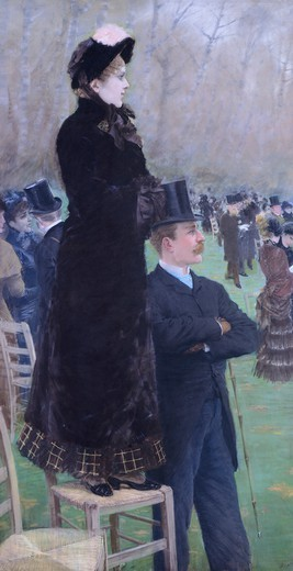Stock Photo: 1788-45973 Horse racing in Bois de Boulogne, 1881, by Giuseppe De Nittis (1846-1884). Detail from the left panel.