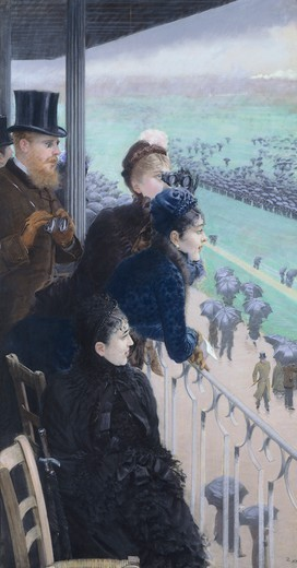 Stock Photo: 1788-45974 Horse racing in Bois de Boulogne, 1881, by Giuseppe De Nittis (1846-1884). Detail from the right panel.