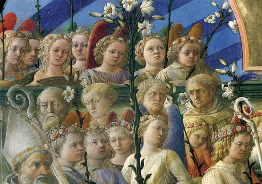 Incoronazione Maringhi or Coronation of the Virgin, 1441-1447, by Filippo Lippi (ca 1406-1469), tempera on wood, 200x287 cm. Detail. : Stock Photo