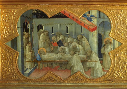 Stock Photo: 1788-46040 The funeral of St Bernardino, detail of the predella of the Coronation of the Virgin, 1414, by Lorenzo Monaco (ca 1370-1425), tempera on panel, 450x350 cm. Polyptych for the high altar of the Camaldolese monastery of Santa Maria degli Angeli (St Mary of the Angels), Florence.