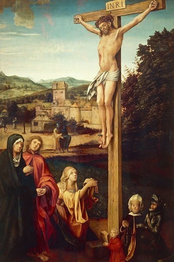 Stock Photo: 1788-46042 Crucifixion showing Mary Magdalene and donors, 1511-1514, by Hans von Kulmbach (ca 1485-1522), oil on panel, 167x92 cm.