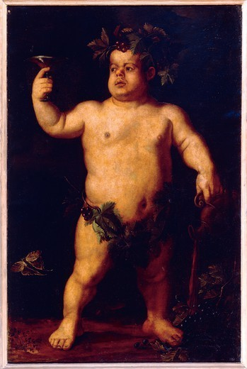 Stock Photo: 1788-46049 Double portrait of the dwarf Morgante: full frontal view of the naked dwarf resembling a Bacchus with a crown of grapes and vine leaves, by Agnolo Bronzino (1503-1572).