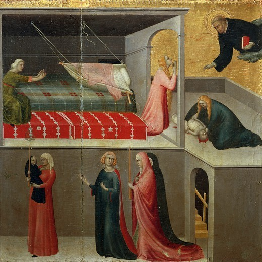 The miracle of the baby who fell from the crib, detail from the altarpiece entitled Blessed Agostino Novello and stories of his life, ca 1330, by Simone Martini (1283-1344), oil on canvas, 200x256 cm. : Stock Photo