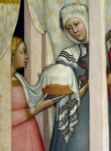 Birth of the Virgin and saints, by Paolo di Giovanni Fei (ca 1345-ca 1411). Detail. : Stock Photo