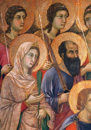 Stock Photo: 1788-46067 Maesta' of Duccio Altarpiece in the Cathedral of Siena, 1308-1311, by Duccio di Buoninsegna (ca 1255 - pre-1319), tempera on wood, 212x425 cm. Detail.