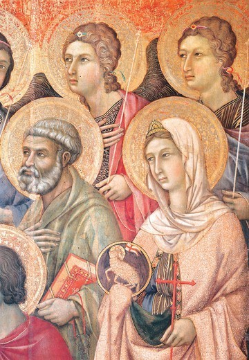 Stock Photo: 1788-46069 Maesta' of Duccio Altarpiece in the Cathedral of Siena, 1308-1311, by Duccio di Buoninsegna (ca 1255 - pre-1319), tempera on wood, 212x425 cm. Detail.