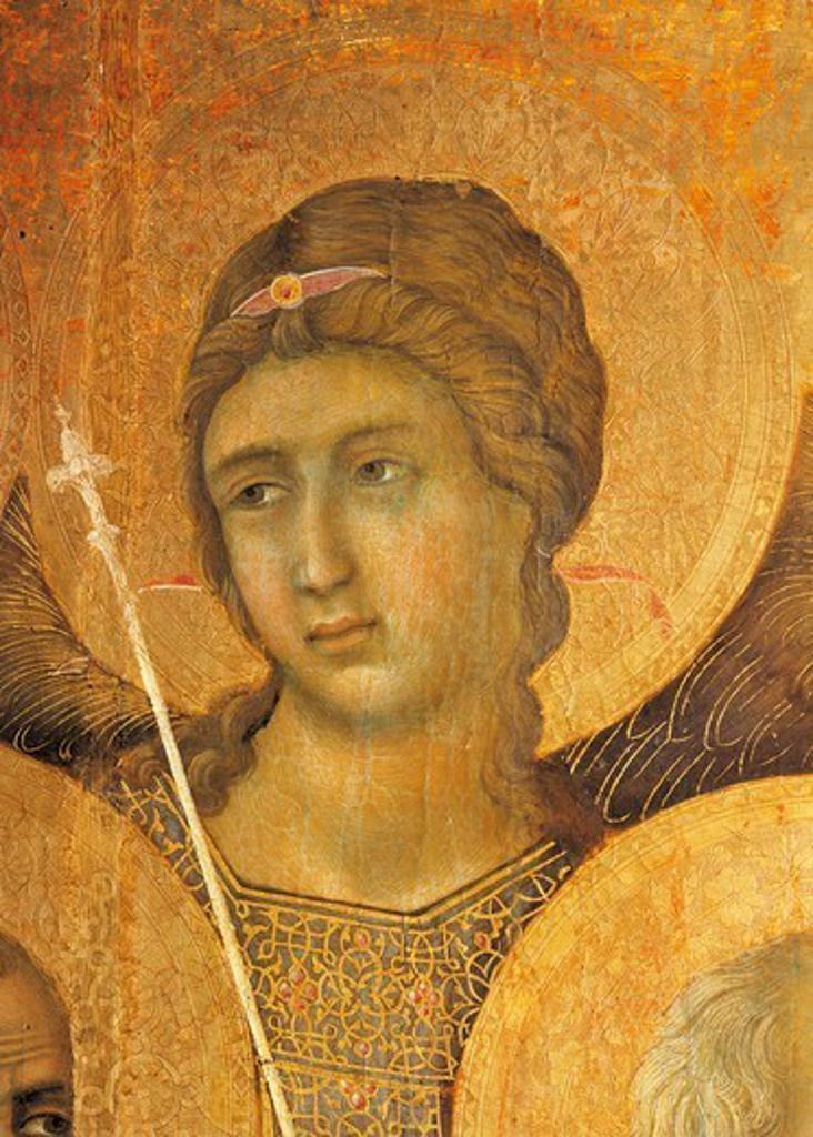 Maesta' of Duccio Altarpiece in the Cathedral of Siena, 1308-1311, by Duccio di Buoninsegna (ca 1255 - pre-1319), tempera on wood, 212x425 cm. Detail. : Stock Photo