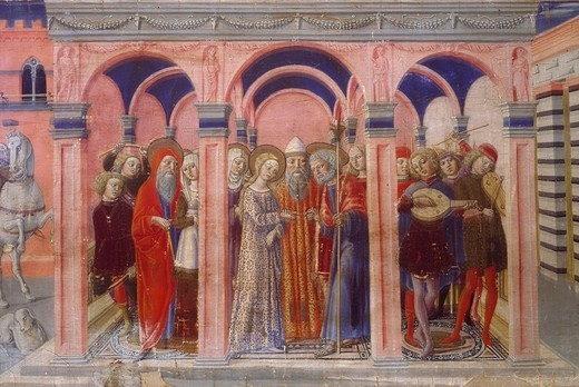 Stock Photo: 1788-46081 Marriage of the Virgin, detail of a predella by Benvenuto di Giovanni (1436-1518).
