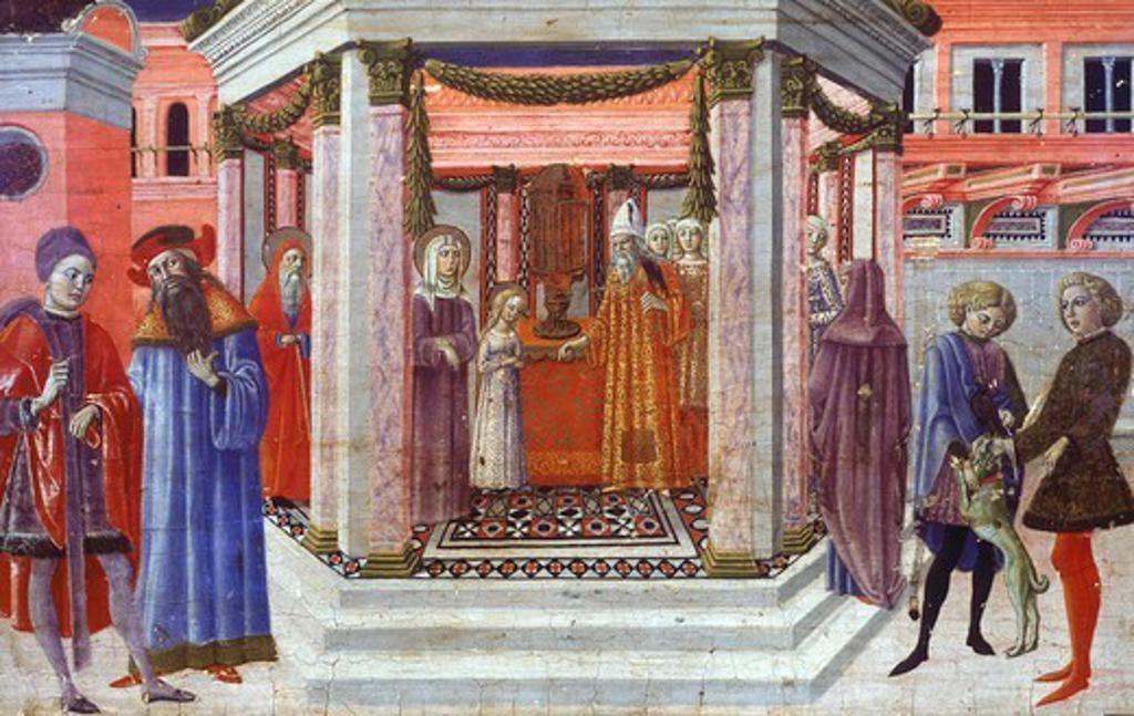 Stock Photo: 1788-46085 Presentation of Mary at the Temple, detail of a predella by Benvenuto di Giovanni (1436-1518).