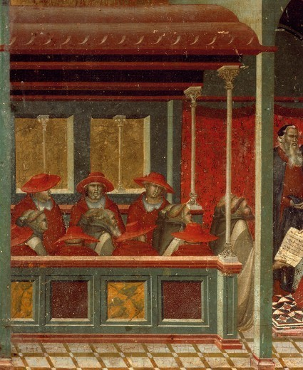 Stock Photo: 1788-46087 Honorius III approving the Carmelite rule, detail from the predella of the altarpiece for the Carmine, by Pietro Lorenzetti (ca 1280-1348), tempera and gold on wood panel.