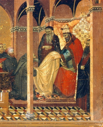 Stock Photo: 1788-46089 Honorius IV gives new clothes to the friars of the Carmine, detail from the predella of the altarpiece for the Carmine, by Pietro Lorenzetti (ca 1280-1348), tempera and gold on wood panel.