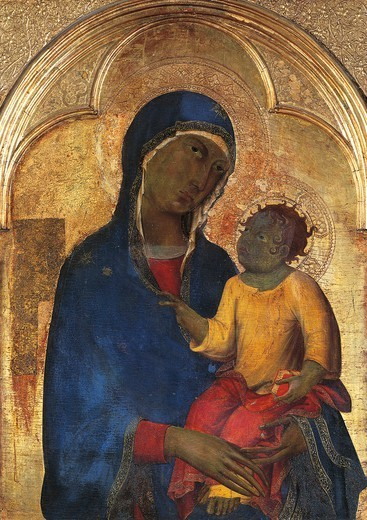 Madonna and Child, detail from the Altarpiece of San Domenico, by Simone Martini (1283-1344), tempera and gold on wood panel, 113x257 cm. : Stock Photo