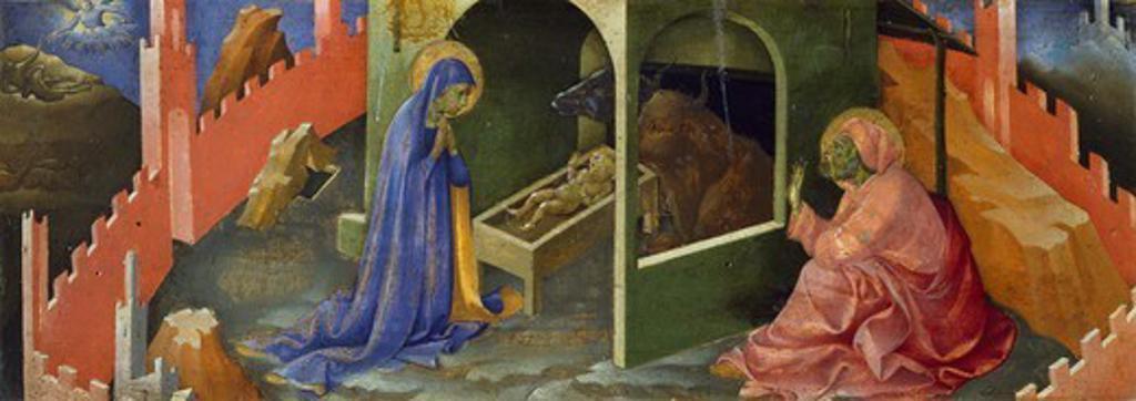 Stock Photo: 1788-46107 Nativity of Jesus, section of the predella, by Lorenzo Monaco (ca 1370-1425), oil on panel, 19.5 x57.5 cm.