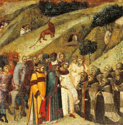 Stock Photo: 1788-46112 The first Carmelite hermits in the spring of Elijah, detail from the predella of the altarpiece for the Carmine, Pietro Lorenzetti (ca 1280-1348), tempera and gold on wood panel.