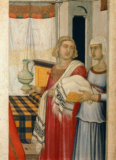 Triptych of the nativity of the Virgin, 1342, by Pietro Lorenzetti (ca 1280-1348), tempera on wood, 187x182 cm. Detail. : Stock Photo