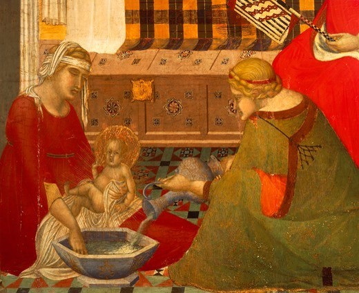 Stock Photo: 1788-46117 The Birth of the Virgin, detail from the Triptych of the nativity of the Virgin, 1342, by Pietro Lorenzetti (ca 1280-1348), tempera on wood, 187x182 cm.