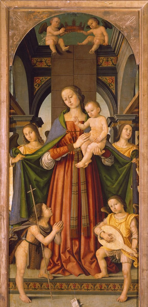 Madonna with Child, central panel of Madonna with Child Triptych with the Saints Ippolito, Romualdo, Benedict and Lawrence, by Giovanni Battista Bertucci the Elder (1465-1516). : Stock Photo