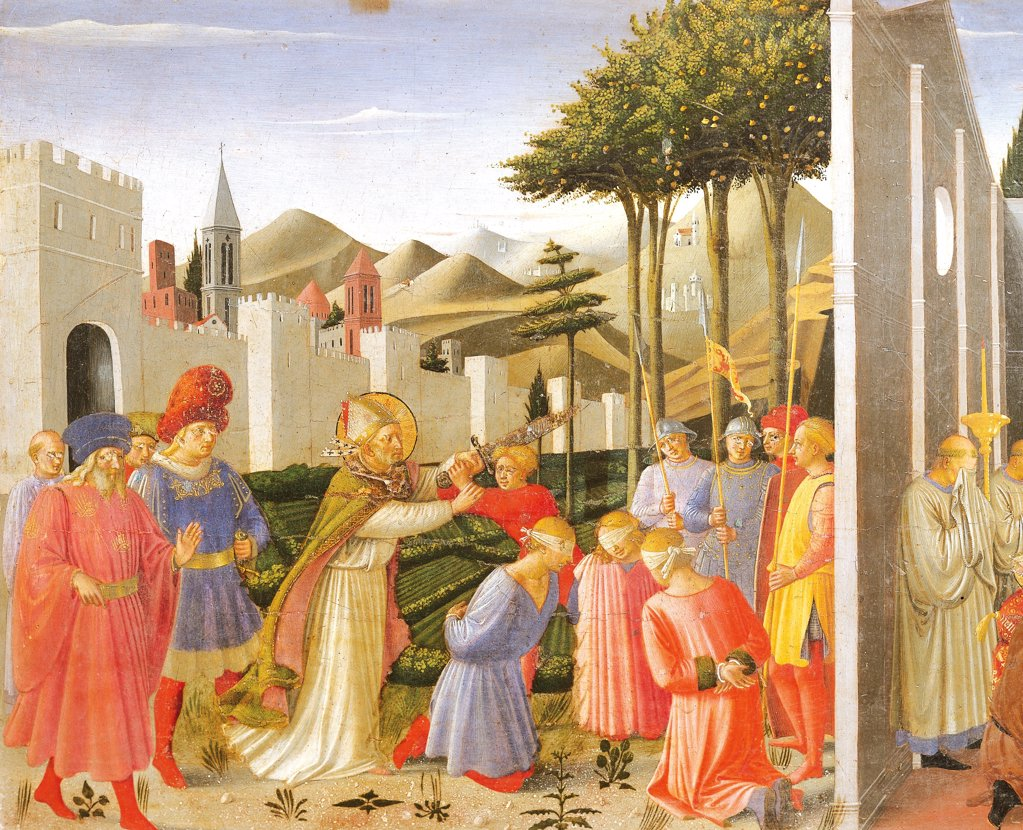 Stock Photo: 1788-46183 predella depicting St Nicholas saving three men sentenced to be beheaded, Perugia Altarpiece, 1438, by Giovanni da Fiesole known as Fra Angelico (1400-ca 1455), tempera on wood.