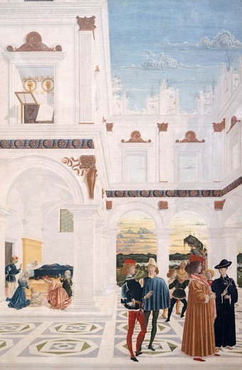 Stock Photo: 1788-46189 Stories of San Bernardino: Miracle of the baby born dead, 15th-16th Century, from the School of Perugino, tempera on wood.
