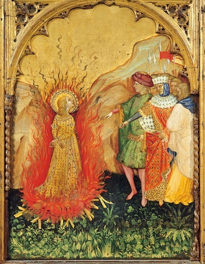St Lucy in the flames of the fire, detail from a section of the altarpiece with scenes from the life of Saint Lucy, ca 1410, by Jacobello del Fiore (active 1400-died 1439), panel, 70x25 cm. : Stock Photo
