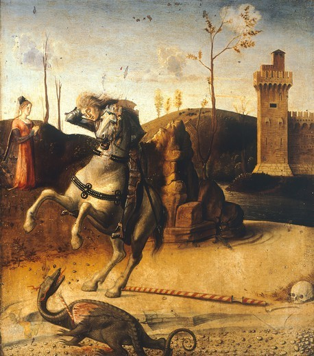St George killing the dragon, detail from the predella of the Pesaro Altarpiece, ca 1475, by Giovanni Bellini (1431-36 - 1516), oil on canvas, 262x240 cm. : Stock Photo