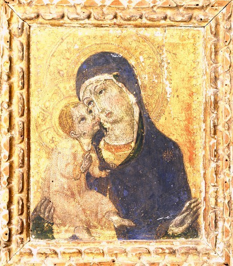 Madonna with Child, second half of the 15th century, by Sano Di Pietro (1406-1481). Basilica di Santa Maria degli Angeli (Basilica of St Mary of the Angels), Assisi. : Stock Photo