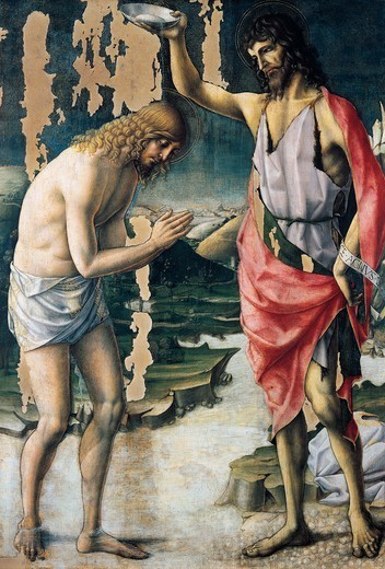 The baptism of Christ, by Lorenzo d'Alessandro of San Severino (born between 1440 and 1450-1503). : Stock Photo