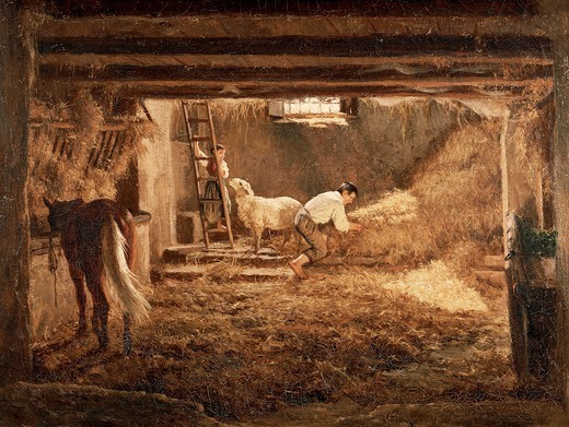Inside one of the barns, 1854, by Filippo Palizzi (1818-1899), oil on canvas, 36.5x49.5 cm. : Stock Photo