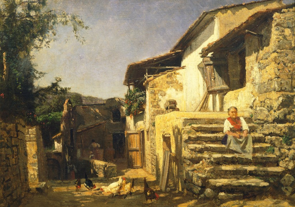 Colonial house in Sorrento, 1859, by Filippo Palizzi (1818-1899). : Stock Photo