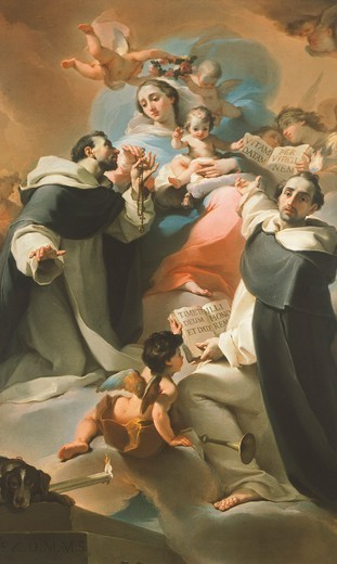 Stock Photo: 1788-46254 Our Lady of the Rosary with Child, St Dominic and St Vincent Ferrer, ca 1773, by Ubaldo Gandolfi (1728-1781).