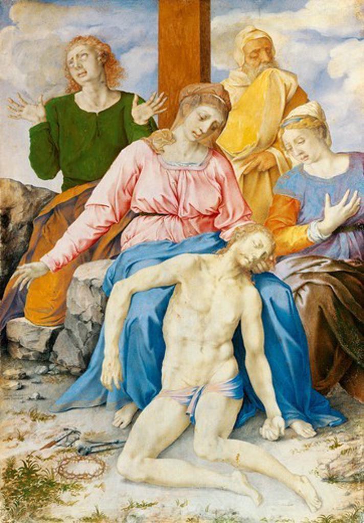Pieta, 1550-1560, by Giulio Clovio (1498-1578). : Stock Photo