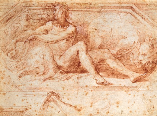 Stock Photo: 1788-46272 Daniel in the den of snakes (first version), study for the Church of St John, by Francesco Parmigianino (1503-1540), drawing.