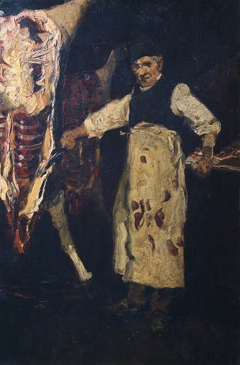 The butcher, 1881, by Lorenzo Delleani (1840-1908). : Stock Photo