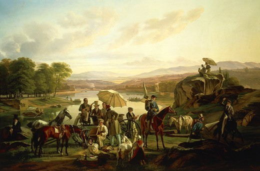 Stock Photo: 1788-46306 Artists' from Lyon rest in the Ile Barbe, 1824, by Jean-Antoine Duclaux (1738-1868), oil on canvas, 86x131 cm.