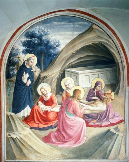 Lamentation over the Dead Christ, ca 1440-1441, painted under the supervision of Giovanni da Fiesole known as Fra Angelico (1400-ca 1455). Fresco, 192x166.5 cm. Convent of San Marco, Florence. : Stock Photo