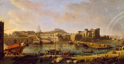Dock of Naples, by Gaspar van Wittel (ca 1652-1736). : Stock Photo