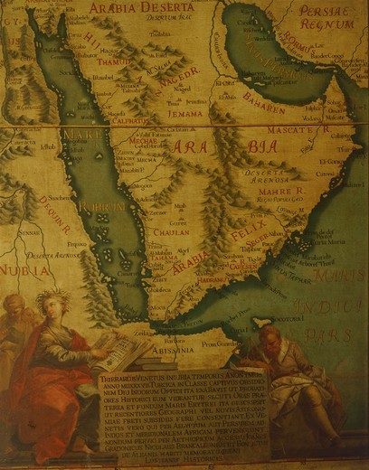 The Arabian Peninsula, by Giovanni Battista Ramusio (1485-1557), Hall of Maps, The Doge's Palace (Palazzo Ducale), Venice, 16th Century. Canvas. : Stock Photo
